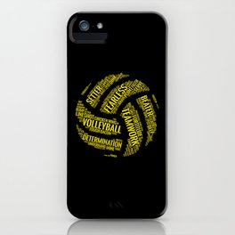 Yellow Volleyball Wordcloud - Gift iPhone Case