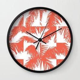 Palm Leaf Pattern Orange Wall Clock