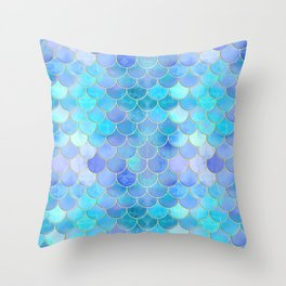 Aqua Pearlescent & Gold Mermaid Scale Pattern Throw Pillow