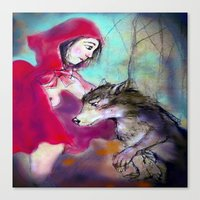 red hood Canvas Prints featuring red hood by AliluLera