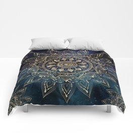 Elegant Gold Mandala Blue Galaxy Design Comforters