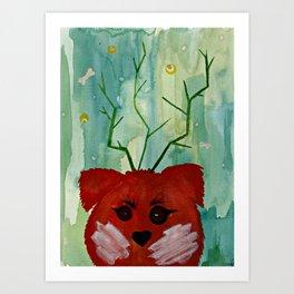 Lucky Dog Green Art Print