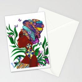 African woman art.Afro art.Beautiful African woman,butterflies art. Stationery Cards