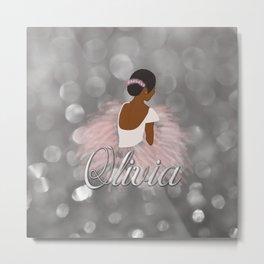 African American Ballerina Dancer Personalized Name OLIVIA Metal Print