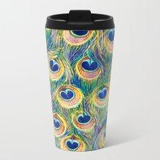 Peacock Freathers Metal Travel Mug
