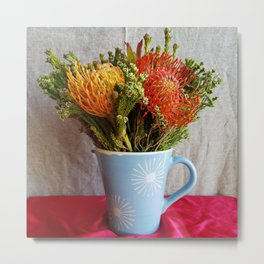 Flowers in a vase - with Pincushion Protea Metal Print