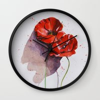 poppies Wall Clocks featuring Poppies by Alina Rubanenko