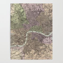 Vintage Map of London England (1872) Poster