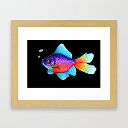 Neon glowing Goldfish Framed Art Print