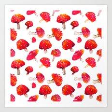 Fall toadstool watercolor pattern Art Print