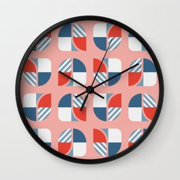 Modern geometry colorful check pattern rose background Wall Clock