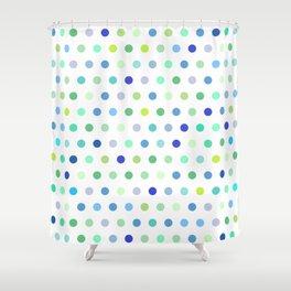 Polka Dots - Blue & Green Shower Curtain