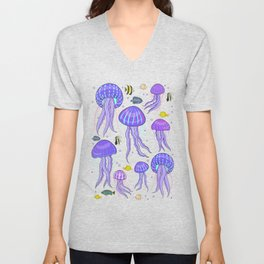 Sea jellyfish on dark purple background. Unisex V-Neck