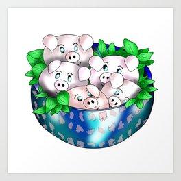 cute piggy dumplings Art Print