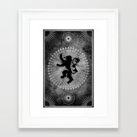 lannister Framed Art Prints featuring House Lannister by Micheal Calcara