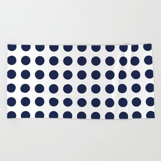 Simply Polka Dots in Nautical Navy Blue Beach Towel