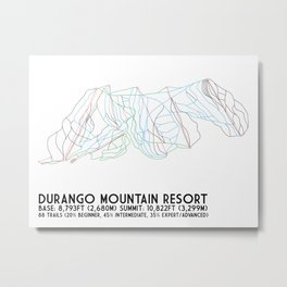 Durango Mountain Resort, CO - Minimalist Trail Art Metal Print