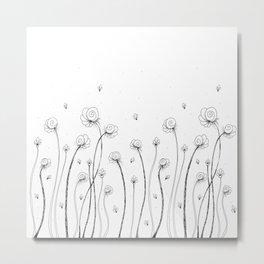 Léa Flowers Garden Doodle Art Metal Print