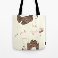 sister Tote Bags featuring Twisted Sister by Brooke Weeber