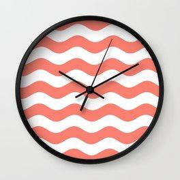 Wavy Stripes (Salmon/White) Wall Clock