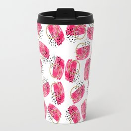 Abstract Black Pink and Faux Gold Brushstrokes Travel Mug