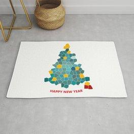 Christmas tree unusual, mosaic gift Rug