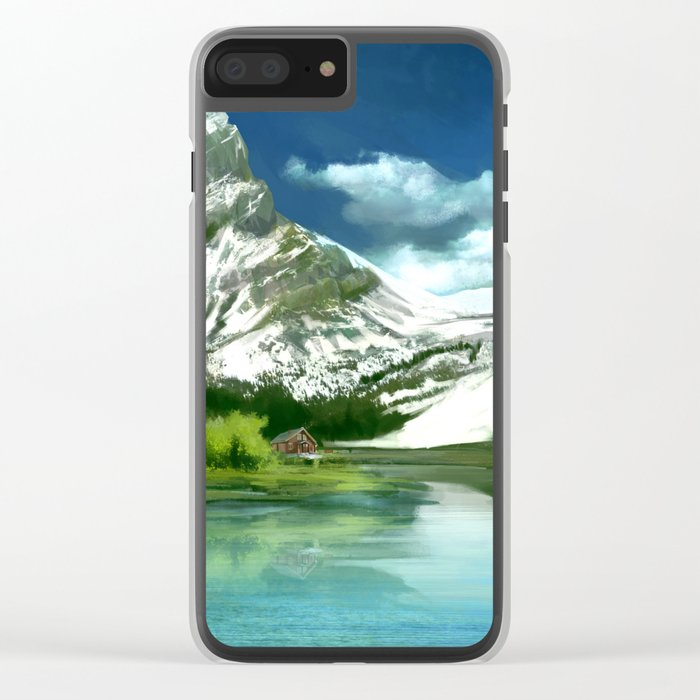 Mountain and lake landscape Clear iPhone Case