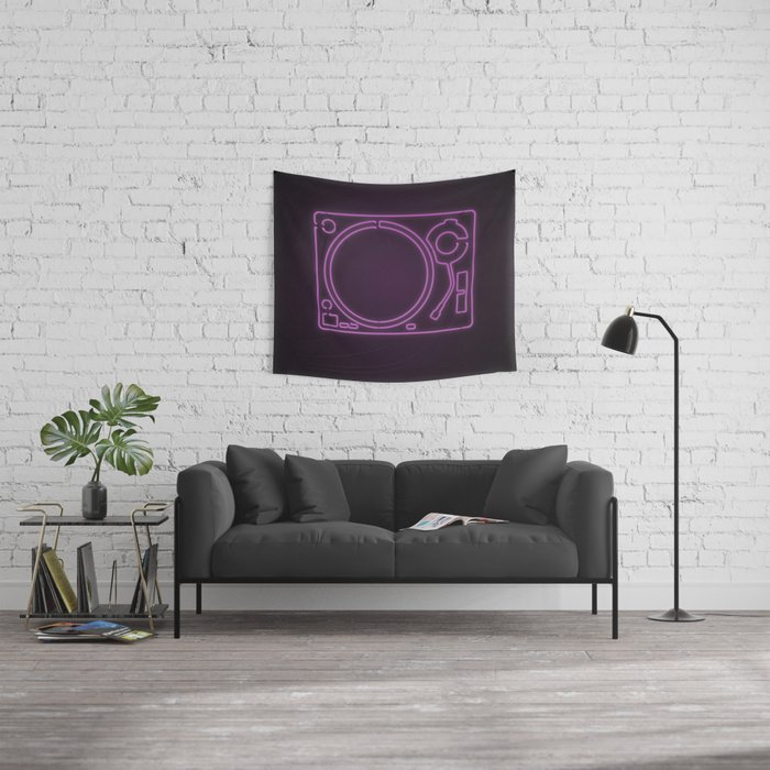 Neon Turntable 1 - 3D Art Wall Tapestry