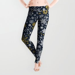 A Thousand Snowflakes in Twilight Blue Leggings