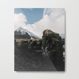 Cozy Mountain Cabin In Iceland - Landscape Photography Metal Print