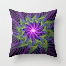 The Light from the Center, Fantasy Fractal Art Throw Pillow
