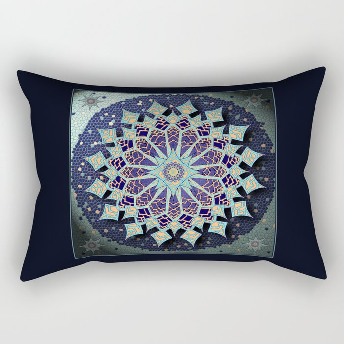 Mosaic Mandala in Blue Rectangular Pillow