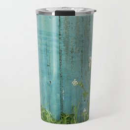 natural wild flowers floral outdoors blue metal fence texture Travel Mug