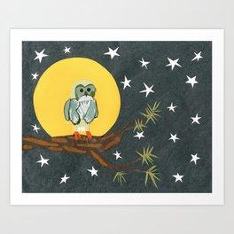 Full Moon Owl Art Print