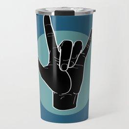 ILY - I Love You - Sign Language - Black on Green Blue 07 Travel Mug