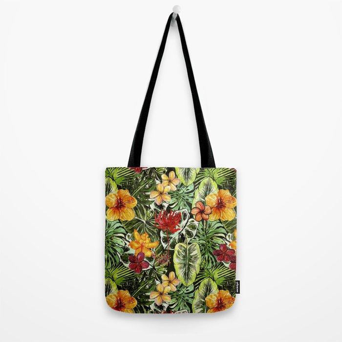 Tropical Vintage Exotic Jungle Flower Flowers - Floral watercolor pattern Tote Bag