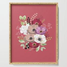 Anemones & Gardenia pink bouquet Serving Tray