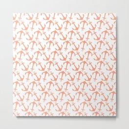 Modern coral white trendy nautical anchor Metal Print