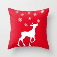 fawn Throw Pillows featuring fawn by Li-Bro