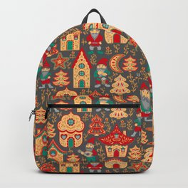 Fairy gnomes and magic houses.  Christmas trees, months and stars. Pattern in folk style. Backpack