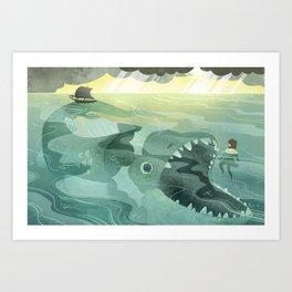 Jonah Tossed Overboard (by Melanie Matthews) Art Print