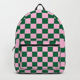 Cotton Candy Pink and Cadmium Green Checkerboard Backpack