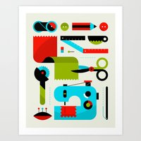 kit king Art Prints featuring Sewing Kit by koivo