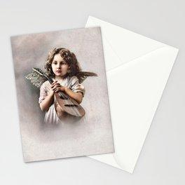 Vintage little girl angel, lute Stationery Cards