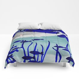 whale in the ocean watercolor illustration Comforters