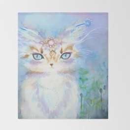 Lavadrille Cat : Guardian of the Mind Throw Blanket