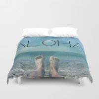 aloha Duvet Covers featuring ALOHA by mark ashkenazi