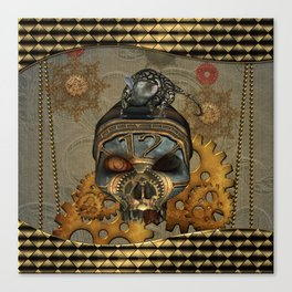Steampunk, awesome steampunk skull with steampunk rat Canvas Print