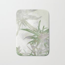 Olive Green Palm Leaves Watercolor Painting Bath Mat