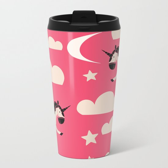 Unicorn pink Metal Travel Mug